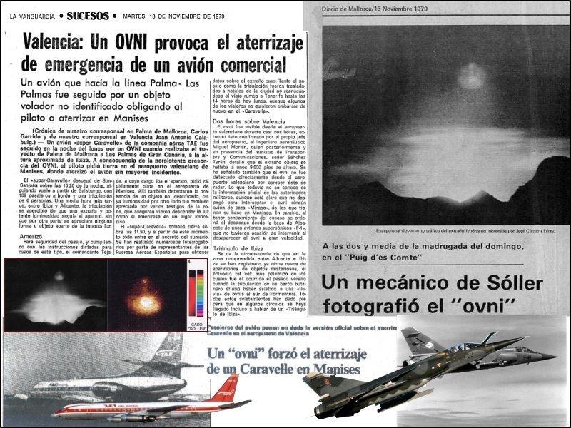 Recortes Collage Ovni de manises (Fuentes de imágnees WIkimedia, Hemeroteca La Vanguardia y hemeroteca ABC)