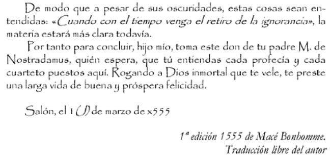 Sección de la Carta que Nostradamus le manda a su hijo cediéndole sus profecías