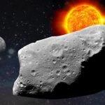 Recreación artística de un meteorito cruzando el sistema solar