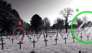 fotografia del cementerio con el supuesto fantasma (análisis)