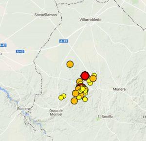 Últimos terremotos Ossa (Fuente Instituto Geográfico Nacional)