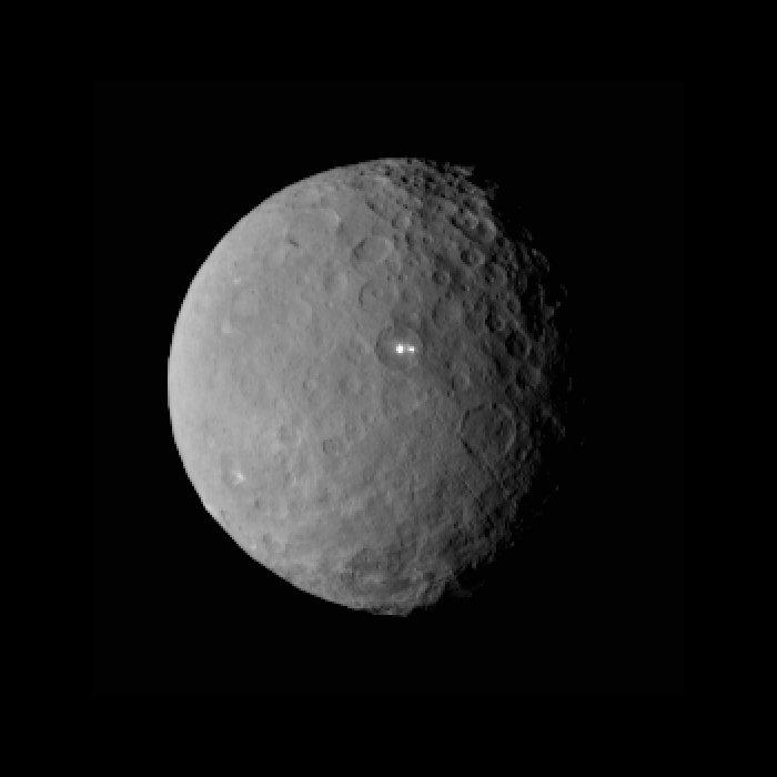 fotografía de NASA/JPL del planeta Ceres con sus puntos luminosos