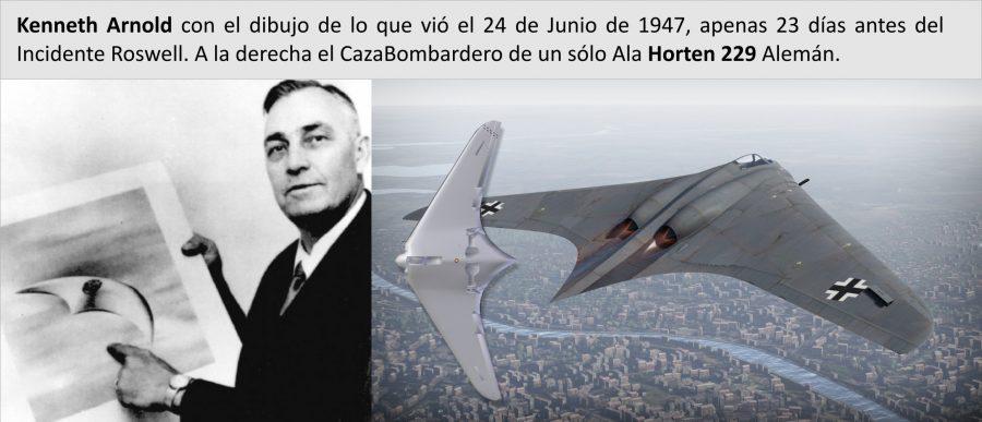 Comparativa entre el dibujo de Kenneth Arnold, primer avistamiento Ovni y el caza aleman Hornet IX 229