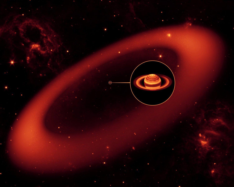 En la imagen una representación artísticadel anillo según lo que había detectado la sonda Spitzer.