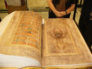 Imagen del demonio sobre el Facsímil del Codex Gigas, atribuido a Germán el Recluso, siglo XIII