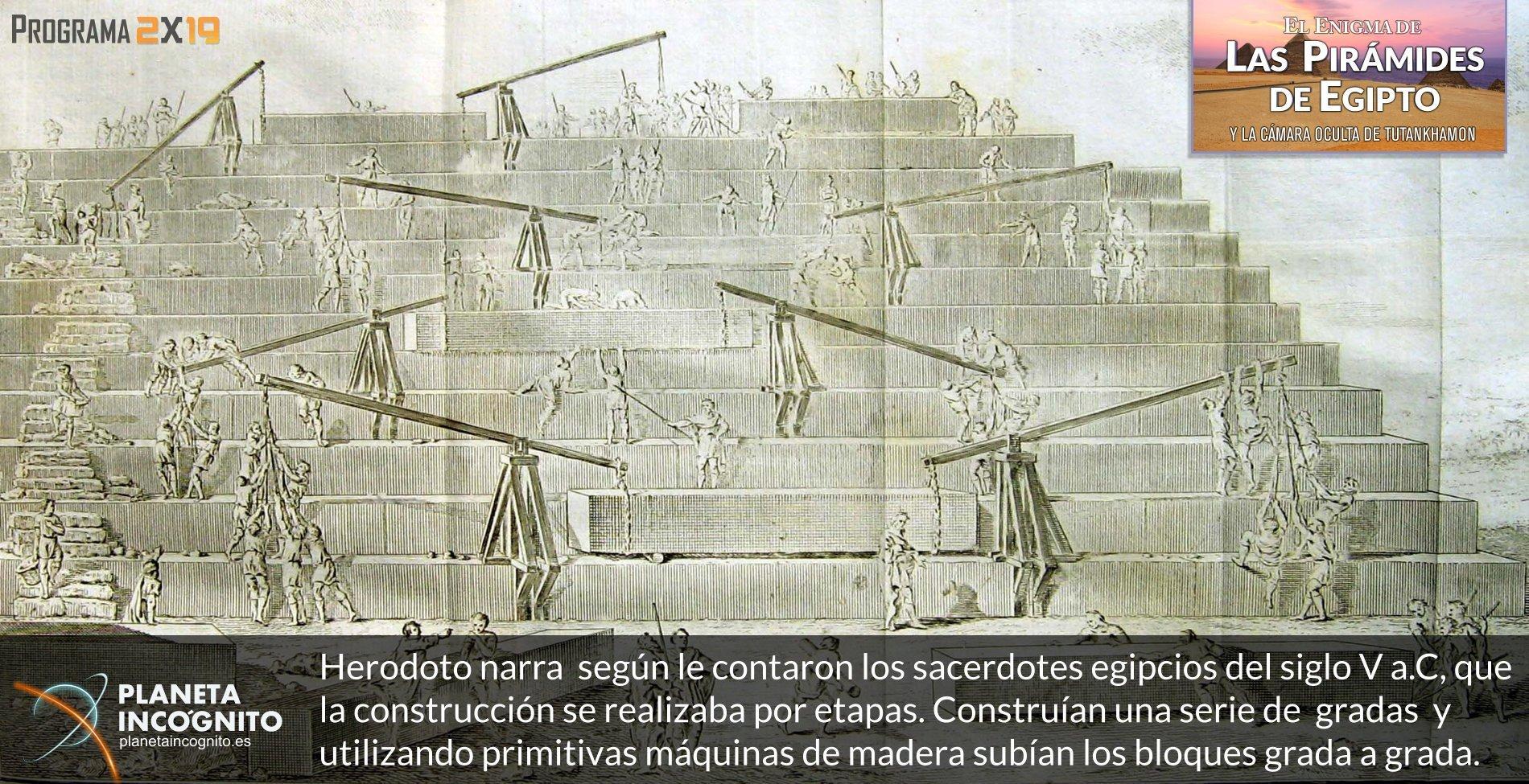 Herodoto narra según le contaron los sacerdotes egipcios del siglo V a.C, que la construcción se realizaba por etapas. Construían una serie de gradas y utilizando primitivas máquinas de madera subían los bloques grada a grada.