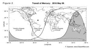 Visibilidad del tránsito de Mercurio Imágen EclipseWise