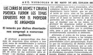 Nota de prensa del ABC del Miércoles 14 de Mayo de 1973 en la que se anuncia la conferencia del Profesor Argumosa sobre Las Caras de Bélmez y la Cirugía Psíquica