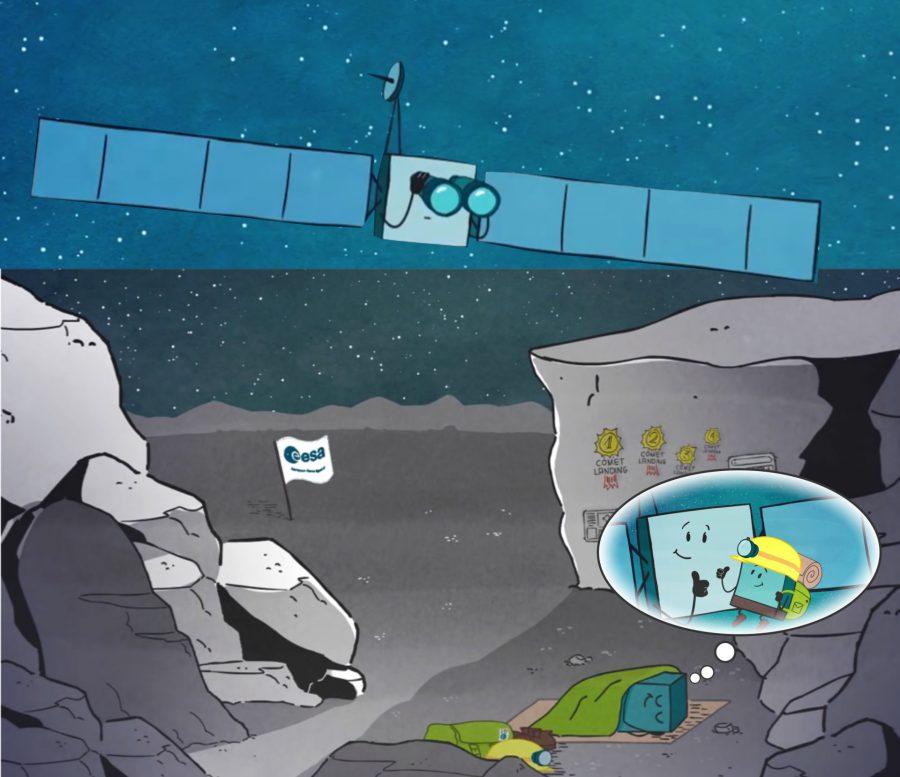 Fotomontaje con gráficos de la Agencia Espacial Europea que ilustraban la partida y el reencuentro de la Sonda