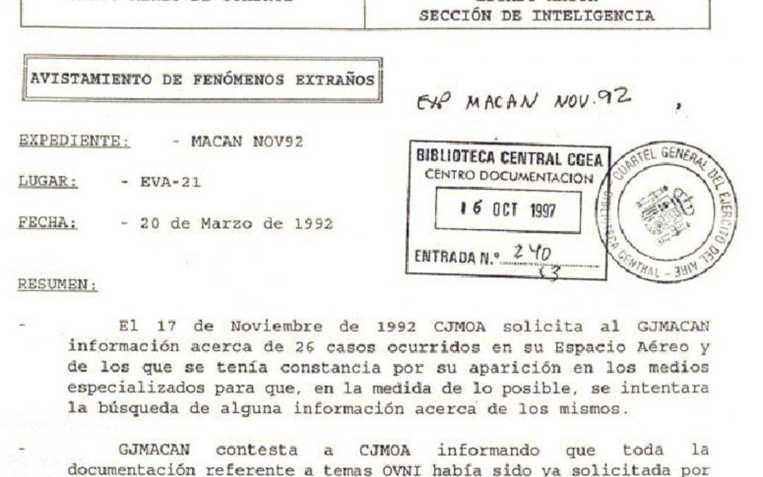 Expedientes Ovni publicados por Defensa en su Biblioteca Digital
