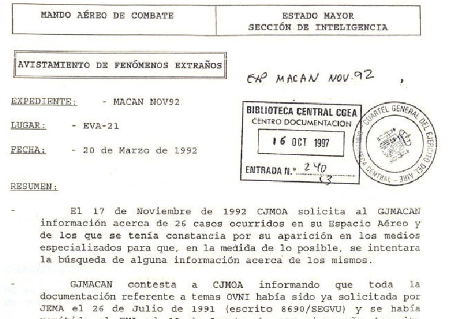 Expedientes Ovni publicados por Defensa en su Biblioteca Digital 2