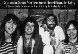Iron Butterfly con Philip Taylor Kramer (izquierda) en la formación de finales de los 70