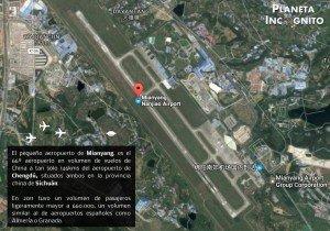 El pequeño aeropuerto de Mianyang, es el 66º aeropuerto en volumen de vuelos de China a tan solo 146kms del aeropuerto de Chengdú, situados ambos en la provincia china de Sichuán. En 2011 tuvo un volumen de pasajeros ligeramente mayor a 660.000, un volumen similar al de aeropuertos españoles como Almería o Granada.