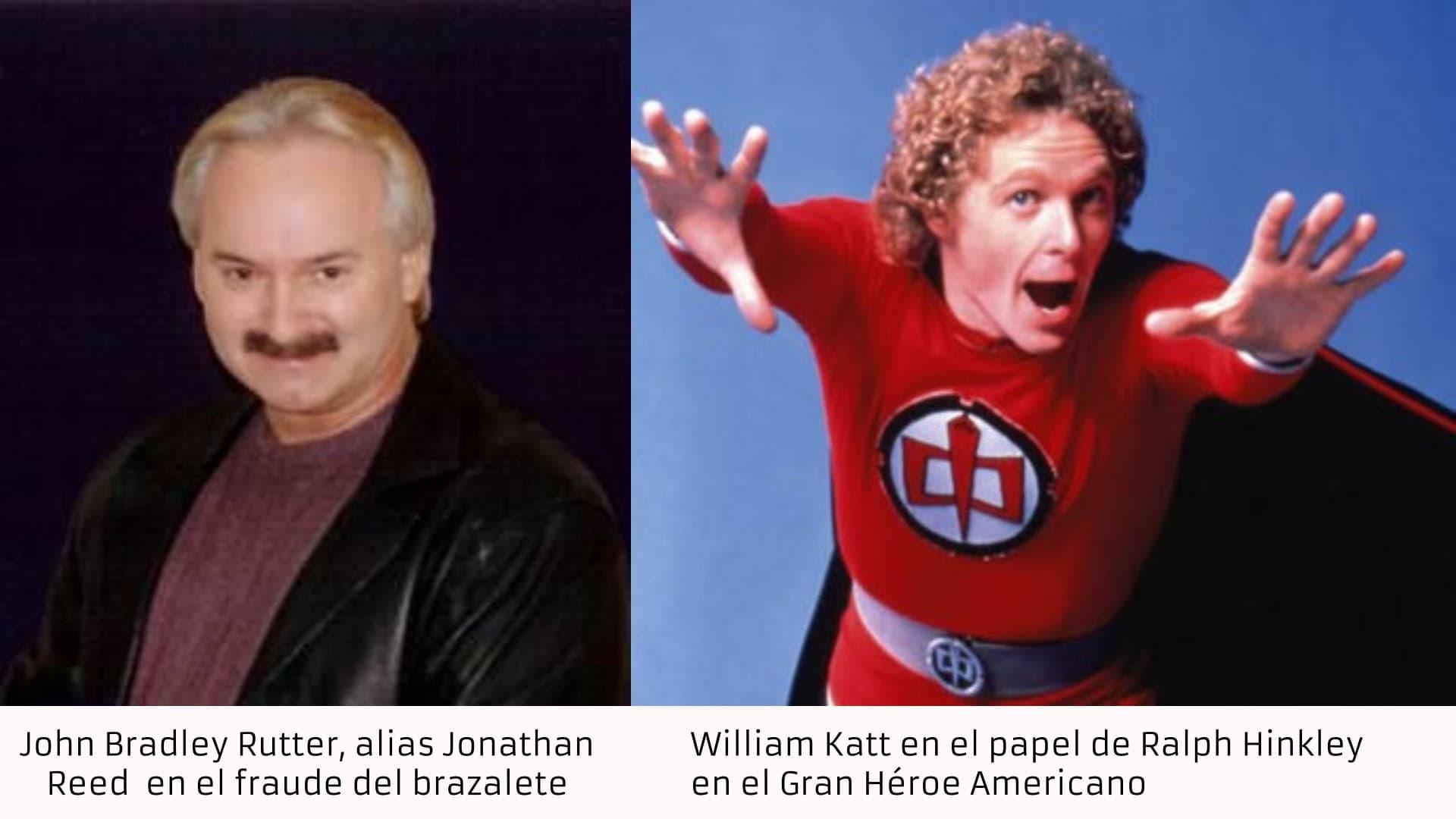 John Bradley Rutter, alias Jonathan Reed en el fraude del brazalete teletransportador, vs William Katt con el traje alienígena en la serie el Gran Héroe Americano