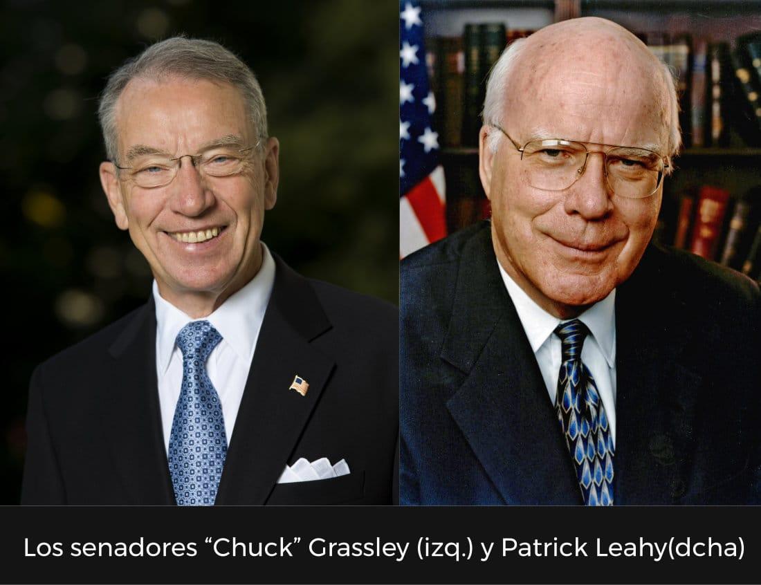 """Los senadores """"Chuck"""" Grassley (izq.) y Patrick Leahy(dcha)"""