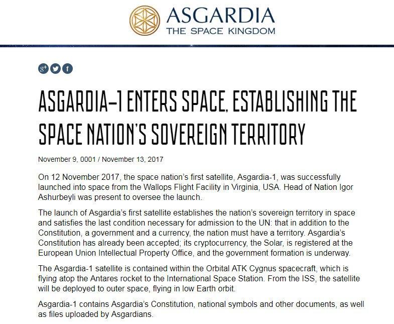 """ASGARDIA, la nación independiente espacial, pone su """"primera piedra"""" en el espacio 3"""