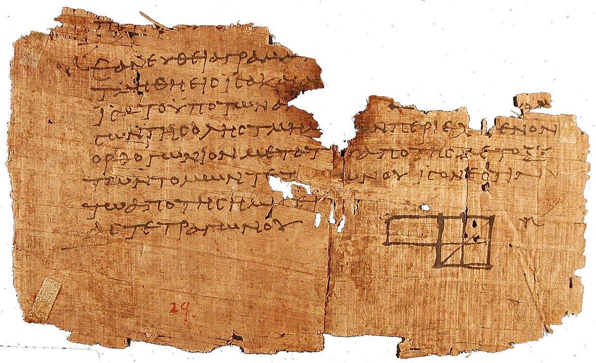 Papiro con escritos sobre Euclides hallado en la ciudad de Oxirrinco. Podemos observar un dibujo en él. Fuente Wikimedia
