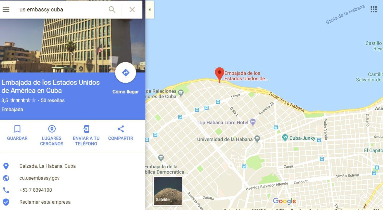 Mapa ubicación de la embajada de Estados Unidos cerca del Malecón
