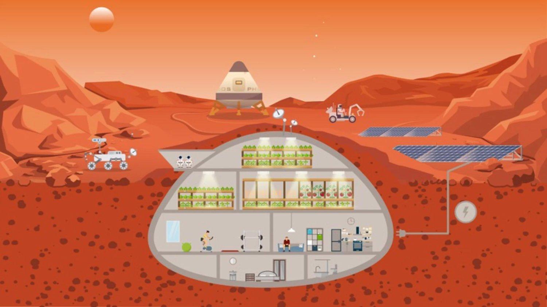 Ilustración de la posible aparición de un ecosistema agrícola cerrado en Marte. Crédito: Universidad de Wageningen y Centro de Investigación