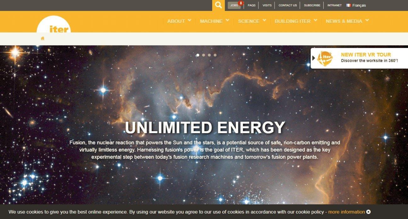 Captura de la web del proyecto ITER