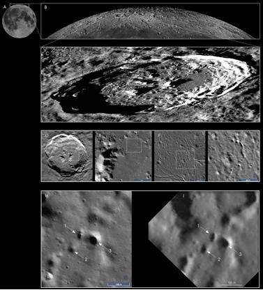 Composición Fotográfica de SETI de los posibles cráteres y su situación en la Luna.