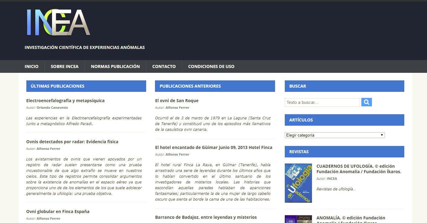 El portal web de investigaciones de experiencias anómalas (INCEA) abre sus puertas al público