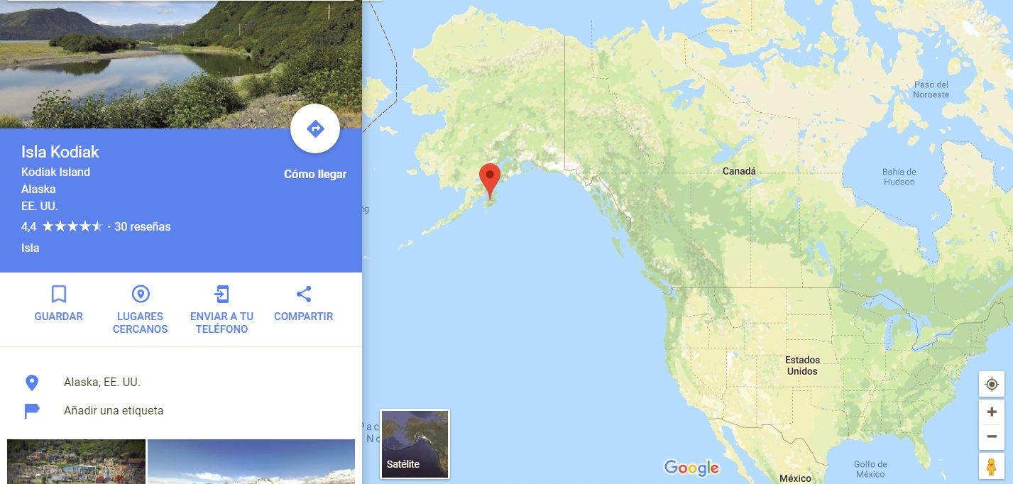 Situación de la Isla de Kodiak al este del país
