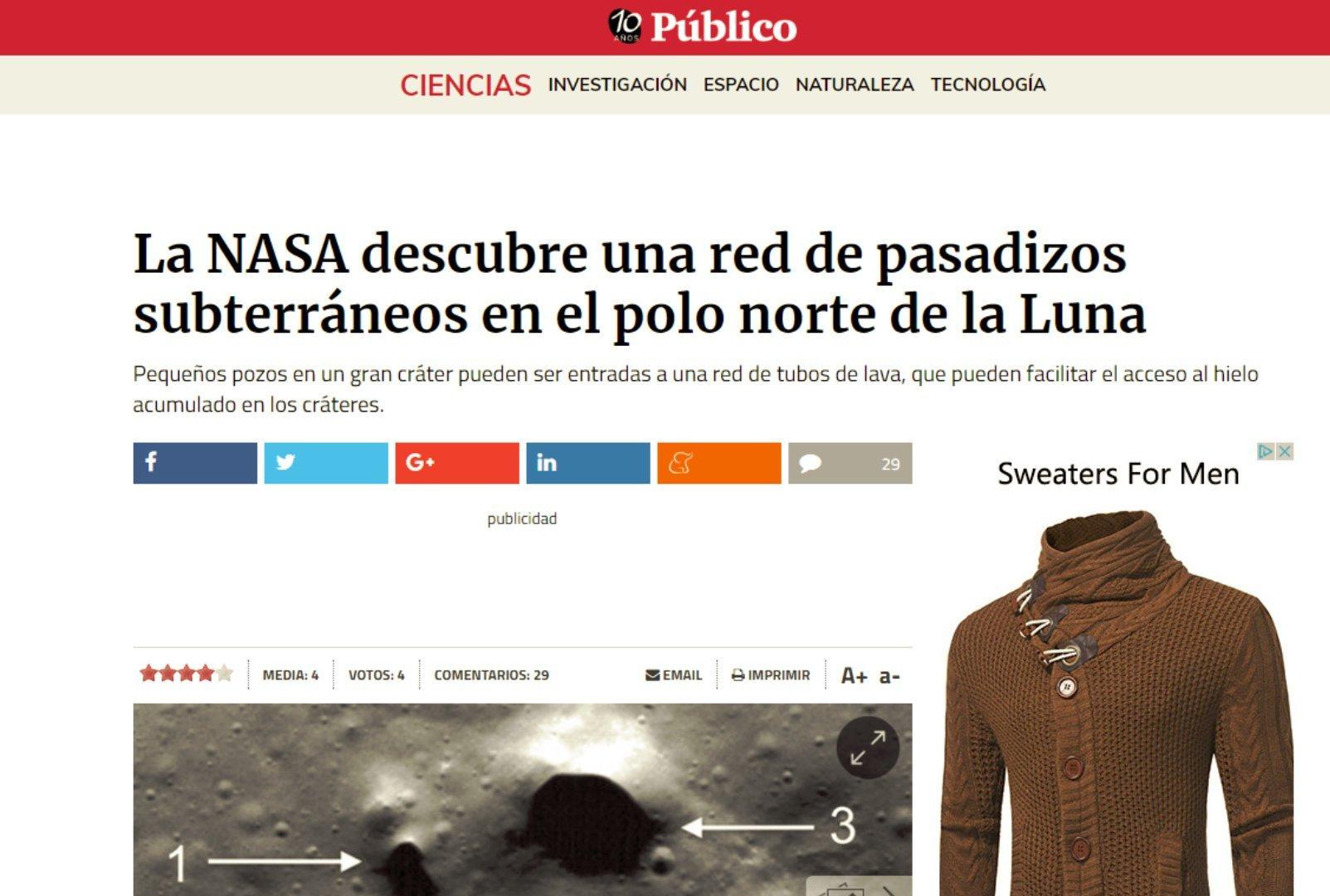 Titular del Periódico público sobre la noticia del descubrimiento de una red de pasadizos subterráneos en el polo norte de la Luna. Simplemente equivocada.