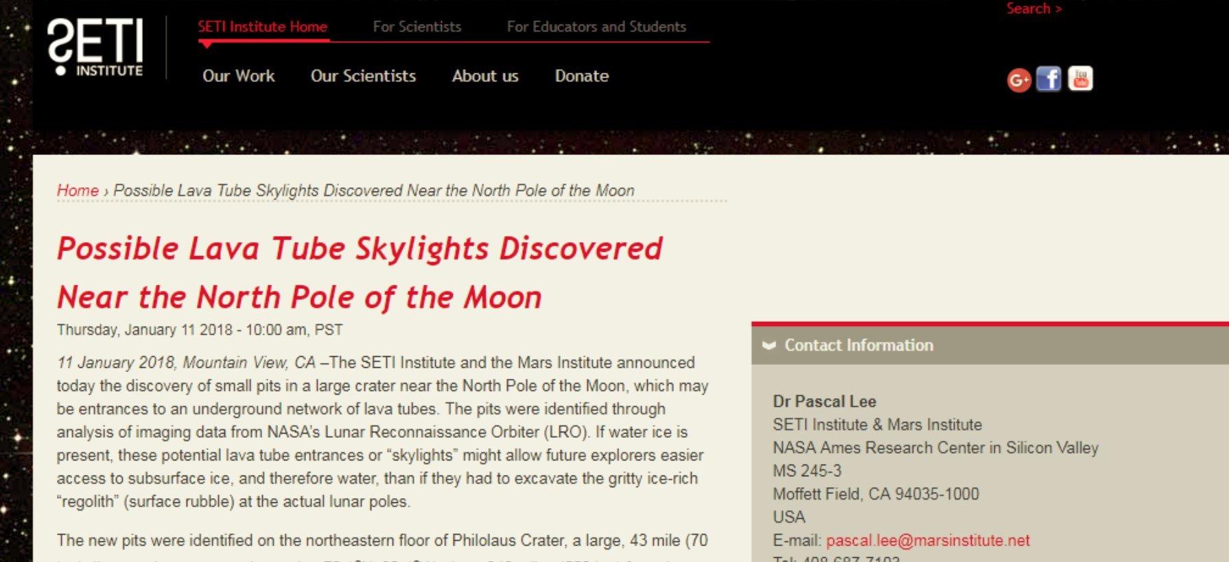 Artículo de Prensa de Seti acerca de la noticia de los posibles conductos hacia túneles de lava lunares descubiertos