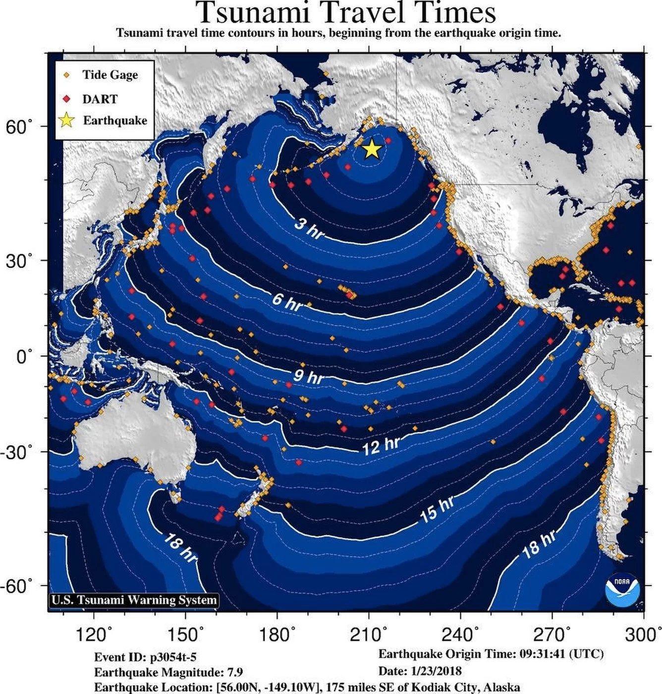 Posible ruta del Tsunami