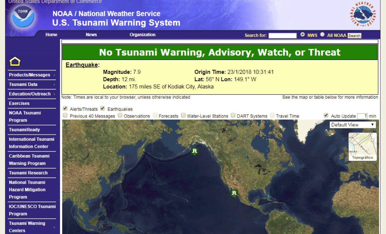 Un fuerte terremoto desencadenó esta mañana la alerta de Tsunami en Alaska y parte de E.E.U.U. 2