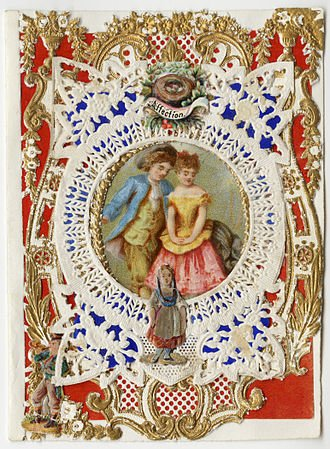 Tarjeta de Esther A. Howland de San Valentín, siglo 1870