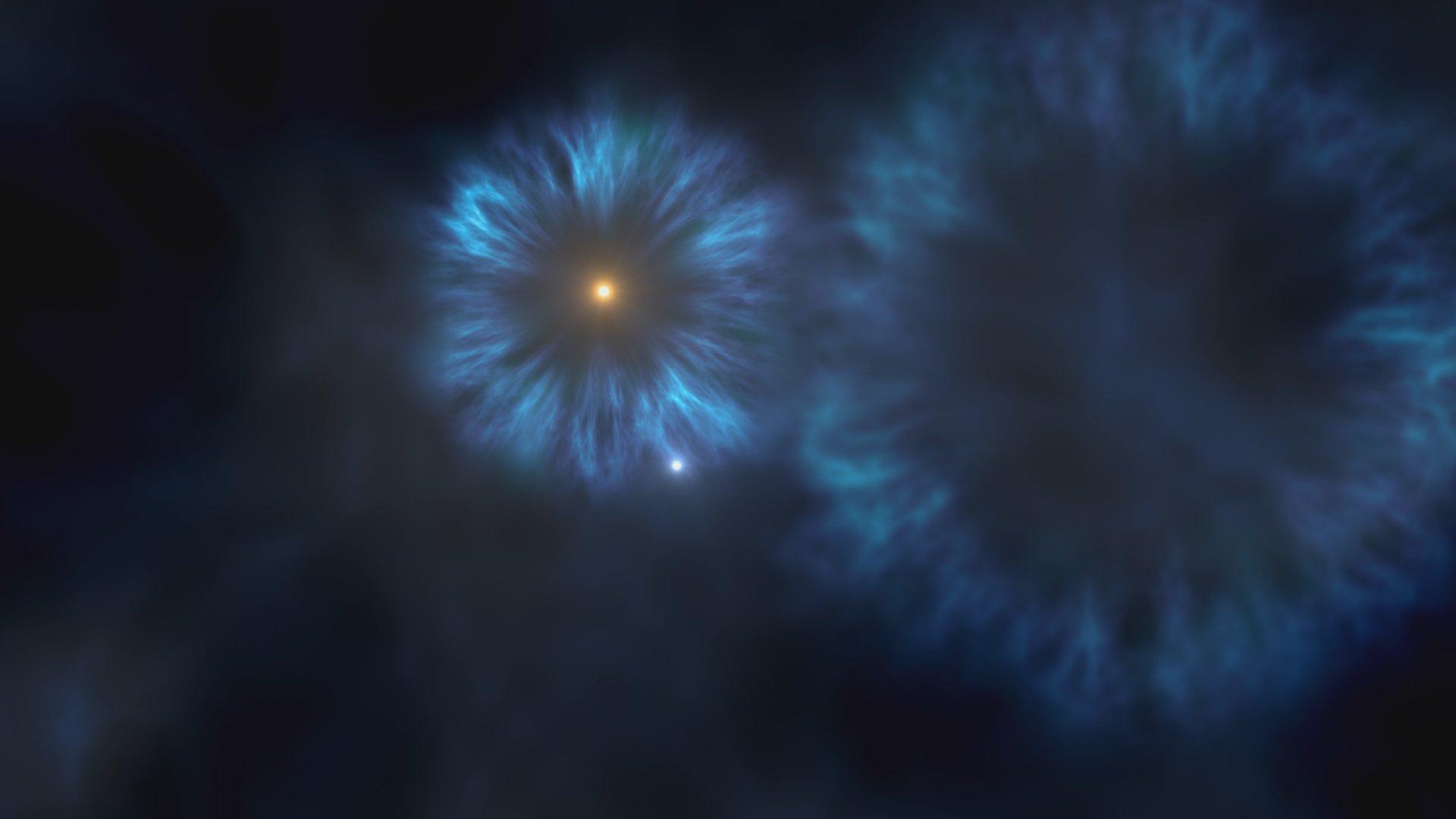Representación artística de la explosión de las primeras estrellas masivas que se formaron en la Vía Láctea. La estrella J0815+4729 se formó a partir del material eyectado por estas primeras supernovas. Crédito: Gabriel Pérez, SMM (IAC).