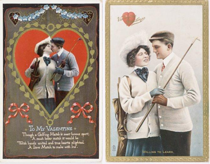 A la izquierda tarjeta de San Valentín estadounidense. A la derecha tarjeta de san Valentín británica de principios del siglo XX. Como vemos la británica es bastante más recatada.