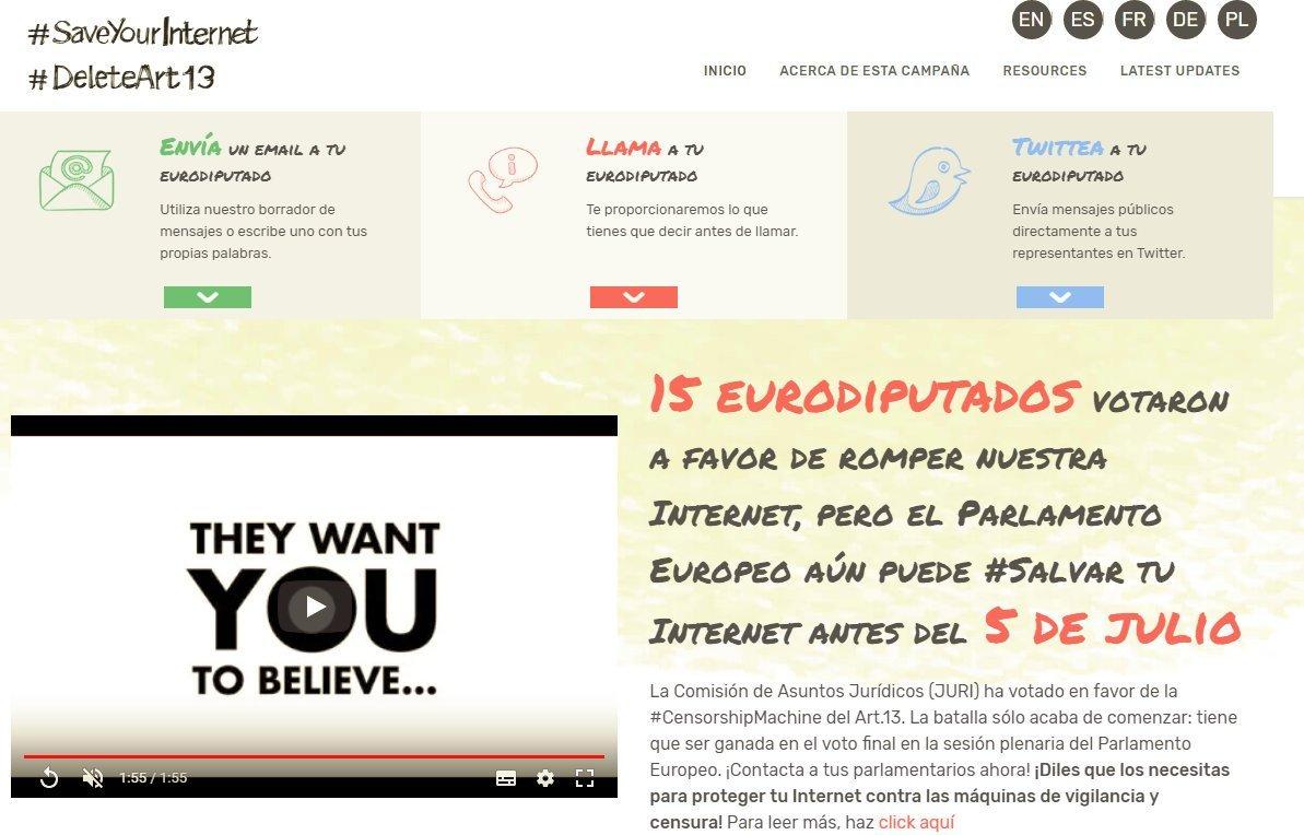 Wikipedia está en peligro!. Ayúdala enviando tu mensaje a un eurodiputado. No al artículo 13 1