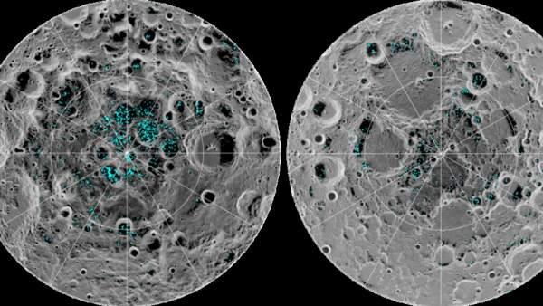 Distribución del hielo en los polos de la Luna.