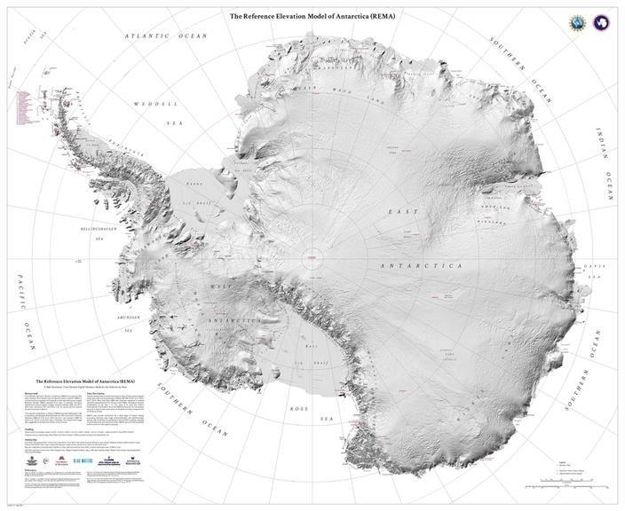 Modelo de elevación de referencia de la Antártida: el Modelo de elevación de referencia de la Antártida muestra el continente con detalles deslumbrantes. Crédito: Agencia Nacional de Inteligencia Geoespacial Estadounidense.