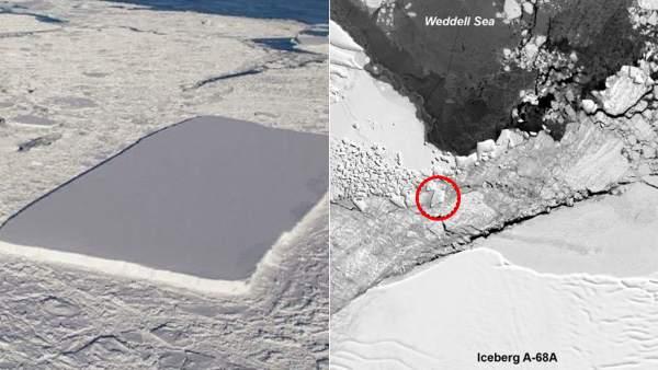El recorrido del gigantesco iceberg rectangular