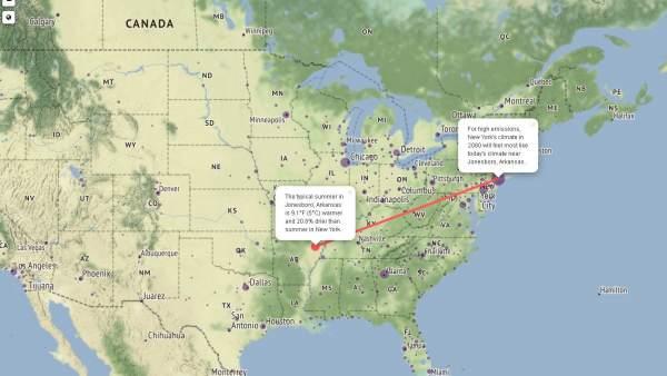 Un mapa interactivo muestra cómo se verán afectadas las ciudades por el cambio climático en 2080