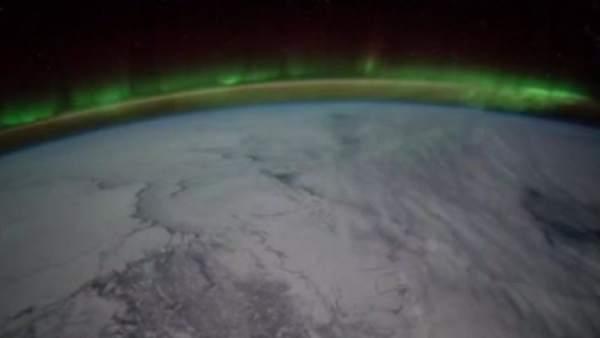 Así es una aurora boreal desde el espacio