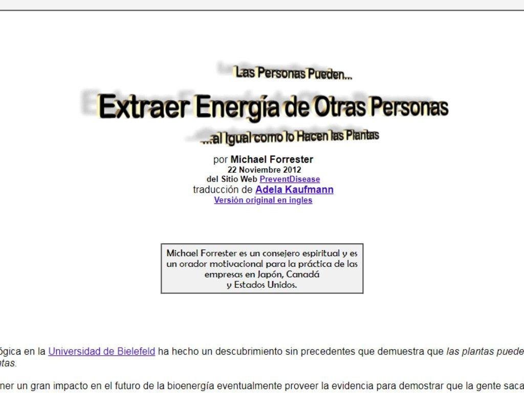 Artículo de Michael Forrester Extraer Energía de otras personas