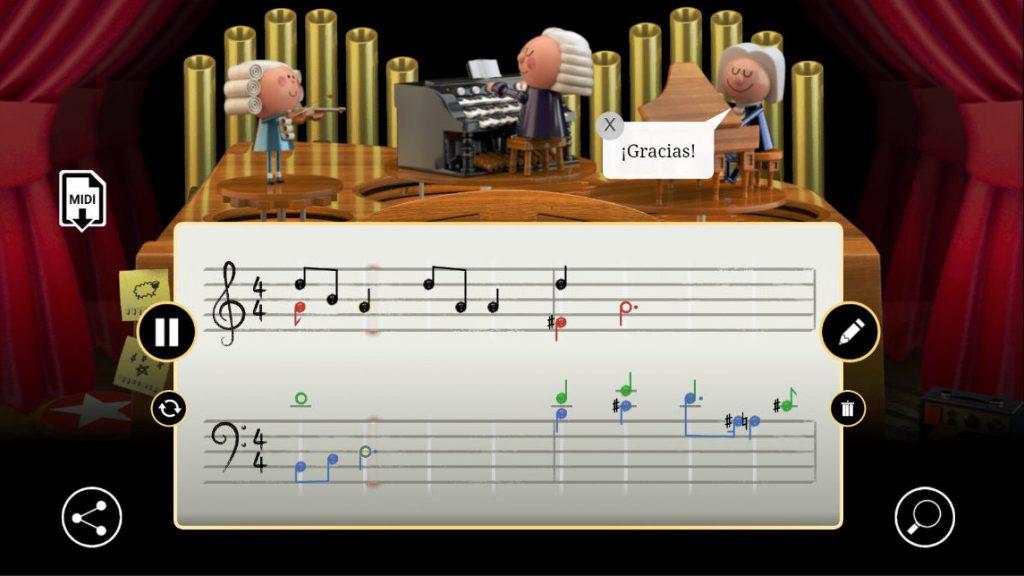 El simpático Doodle de Google dedicado a Bach
