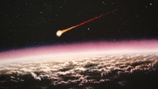 Imagen de Archivo artística de un meteorito cayendo encontrada en la red. Posiblemente relacionada  con un set de fotografías de la Nasa vinculada a la sonda Pioneer 10