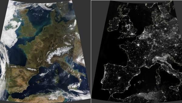 Las espectaculares imágenes de una inusual Europa sin nubes captadas desde el espacio