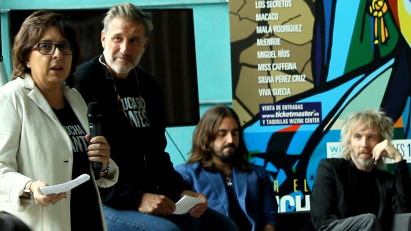 De izquierda a derecha, Carmen Gallo, Emilio Aragón, Andrés Suárez y Shuarma (Elefantes) en la rueda de prensa presentación del Concierto Benéfico Lucha de Gigantes