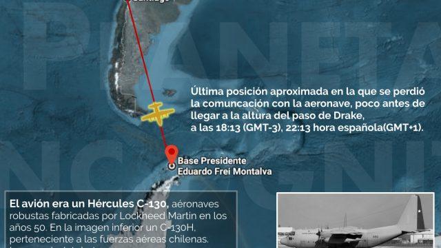 Avión Hércules desaparecido en el trayecto Chile – Antártida.