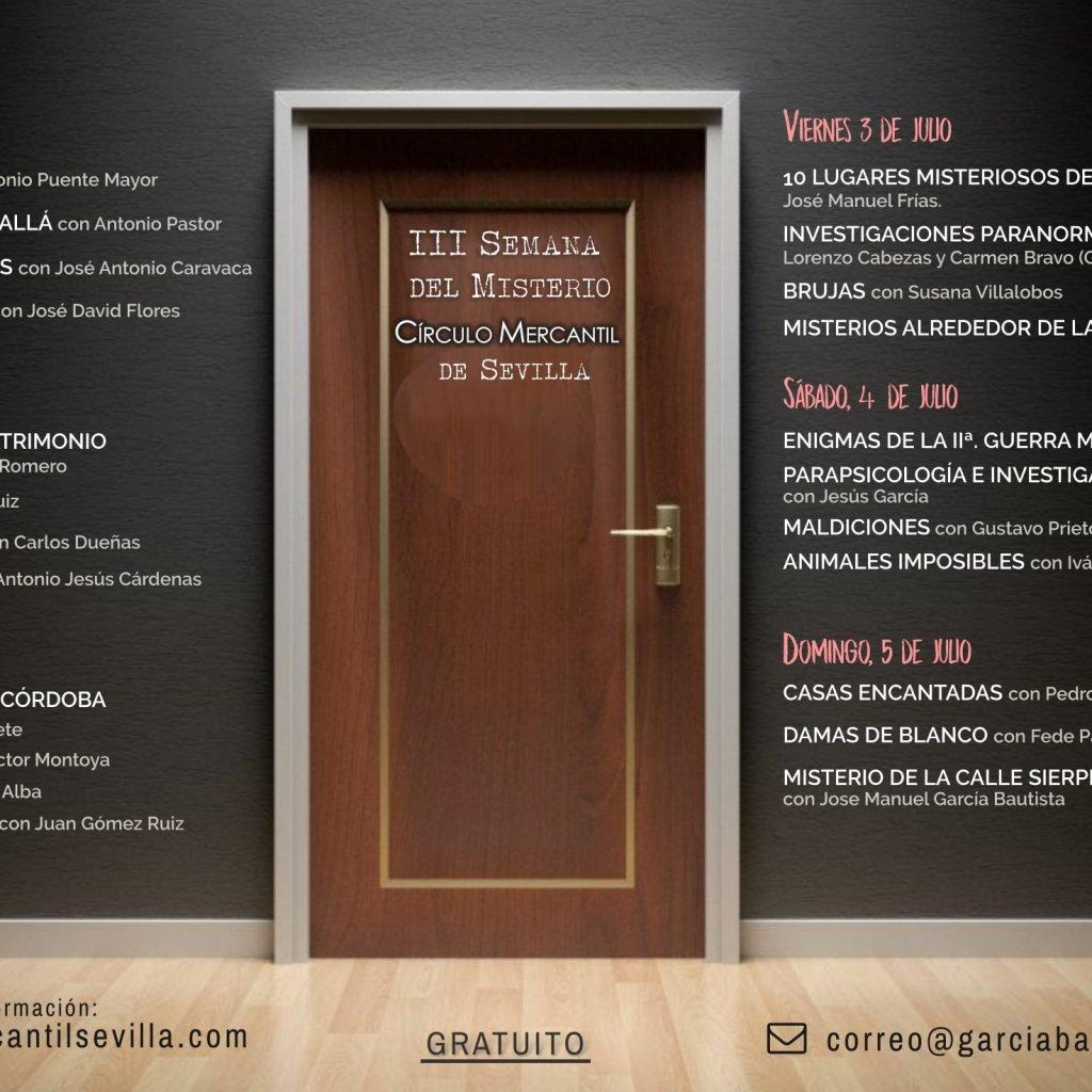 Este Martes comienzan las conferencias de la 3ª Semana del Misterio Círculo Mercantil de Sevilla 2