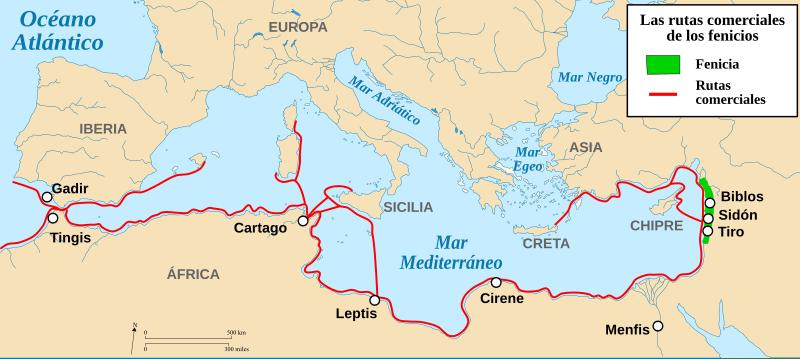 rutas comerciales de los fenicios