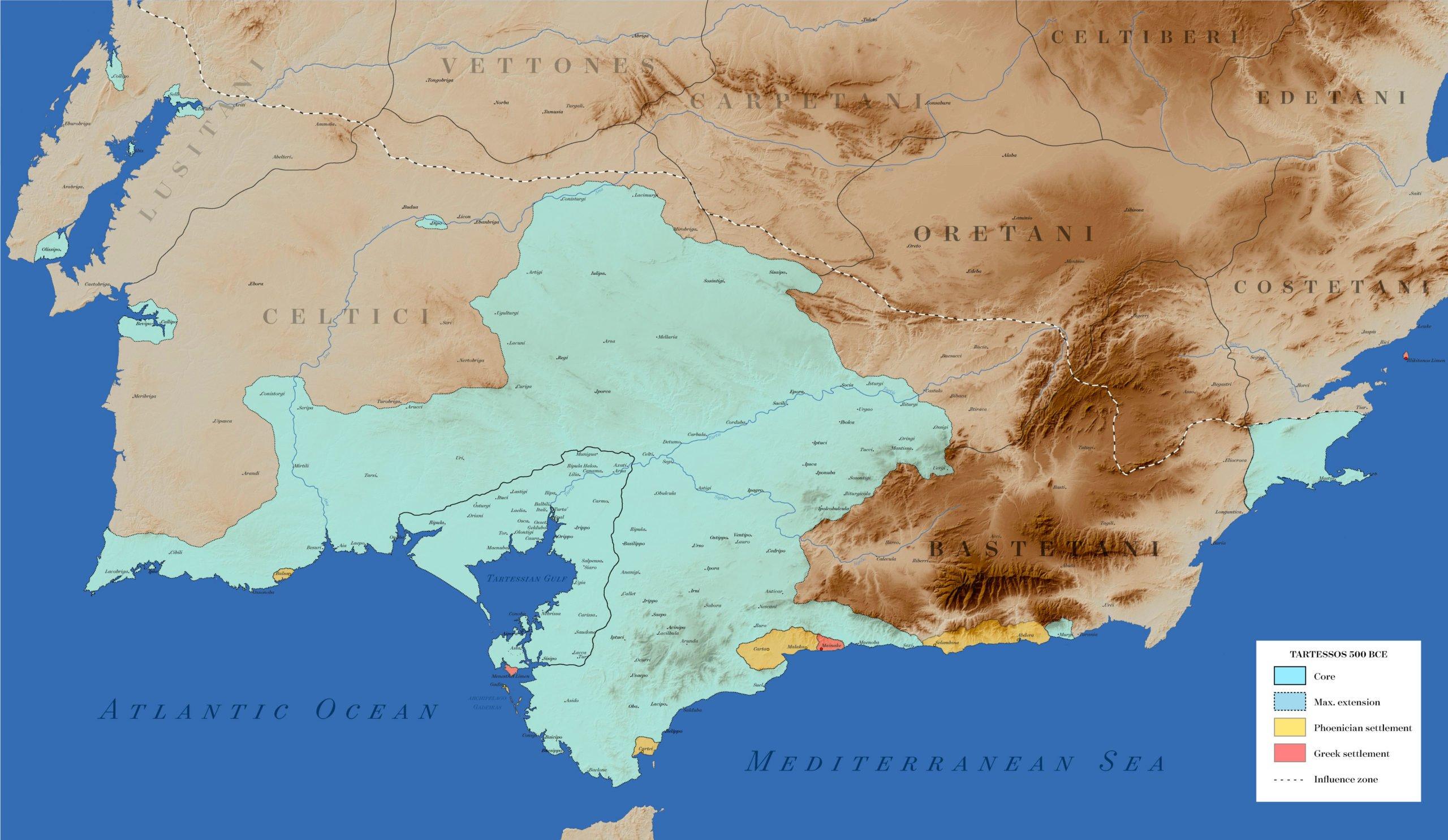 Mapa de Situación. En Azul celeste, situación del Reino de Tartessos hacia el siglo V a.C. En Rojo Asentamientos Griegos y en color Amarillo asentamientos Fenicios.  Su zona de influencia está delimitada por la linea a franjas blancas y negras.  Fuente del Mapa Wikimedia.