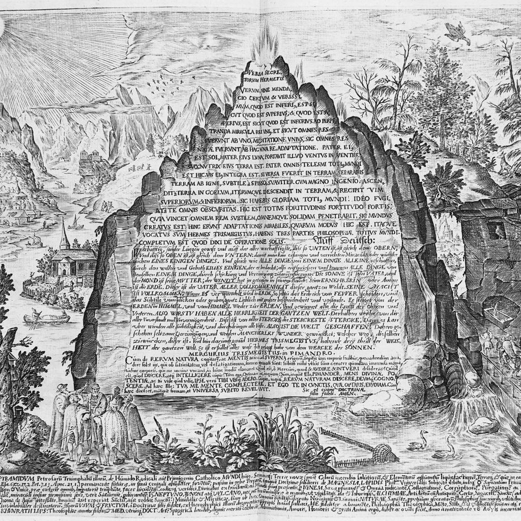 Cuenta la Leyenda que la Tabla se encontró en una roca. Así se la imaginó el autor hermético Heinrich Khunrath en 1609 - Creative Commons  De Gallery: https://wellcomeimages.org/indexplus/image/M0012393.html CC-BY-4.0, CC BY 4.0, Enlace